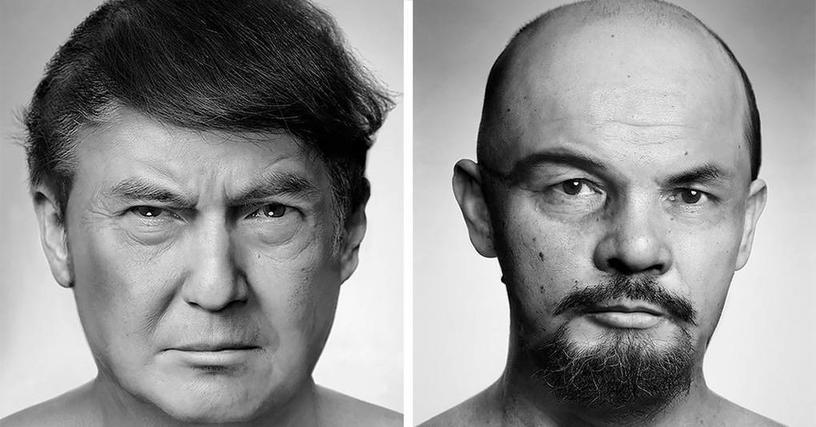 Художник создает жуткие портреты знаменитостей, сделанные из снимков других людей