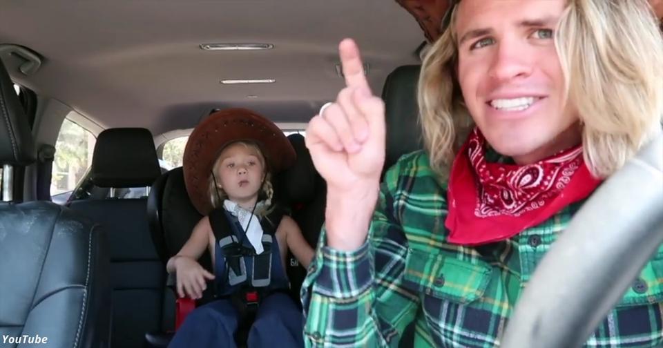 Папа с дочкой сняли клип в машине. Такое можно было записать только без мамы...
