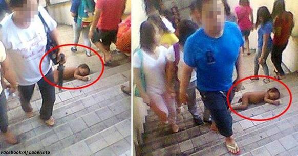 Шокирующие фото: голый младенец лежит на ступенях   и всем все равно!