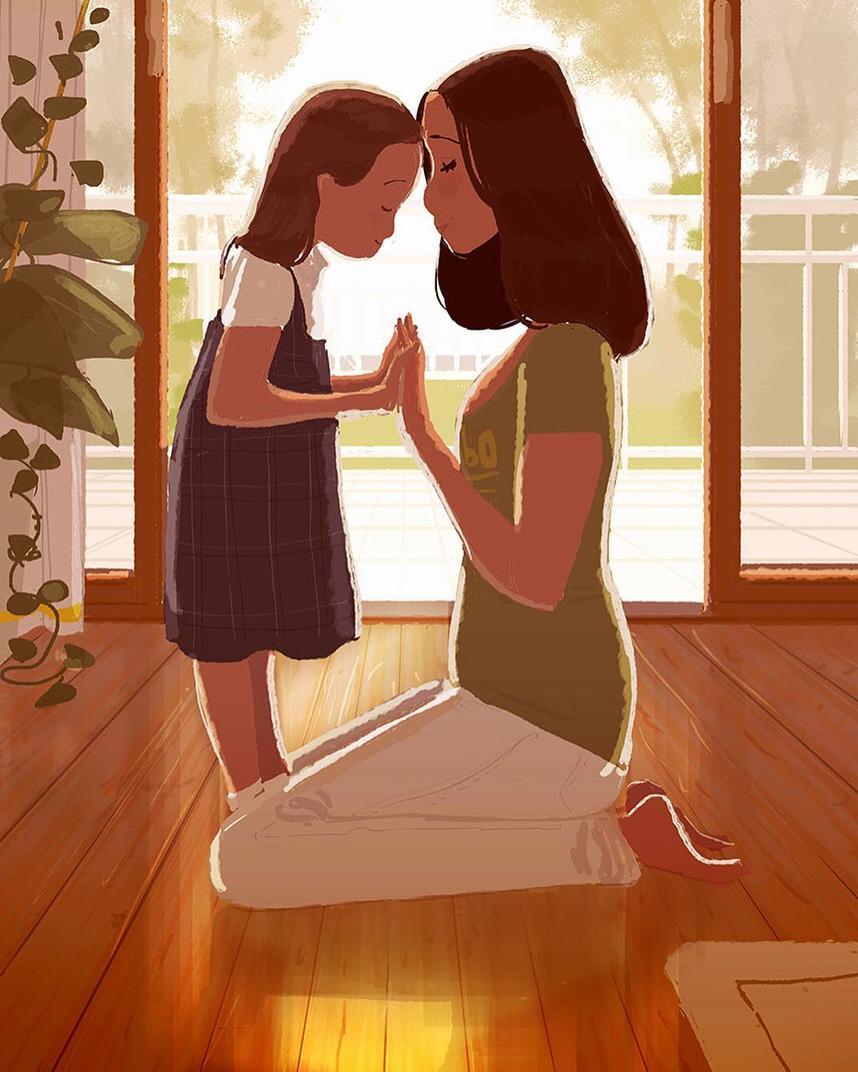 Арт картинка с ребенком, днем