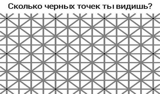 Внимательно взгляни на эту картинку: сколько черных точек ты видишь?