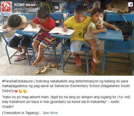 7-летний филиппинский мальчик взял в школу брата. Причина тронет вас до глубины души...
