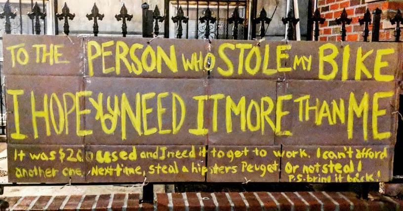 Женщина написала похитителю своего велосипеда красноречивое послание, и это стало началом удивительных событий. Причём добрых