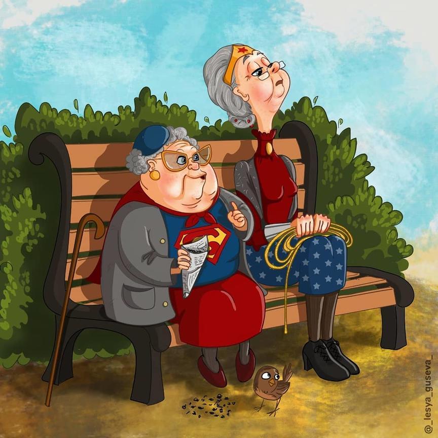 Художница изобразила супергероев, вышедших на пенсию. Теперь они славные бабули и дедули