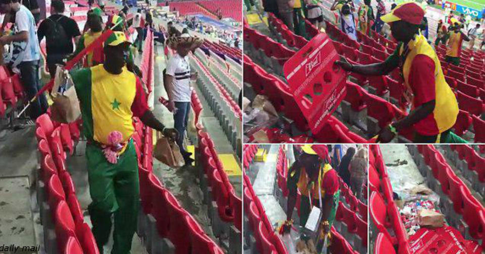 Фанаты из Африки отпраздновали победу над Польшей уборкой на стадионе И убрали не только за собой...