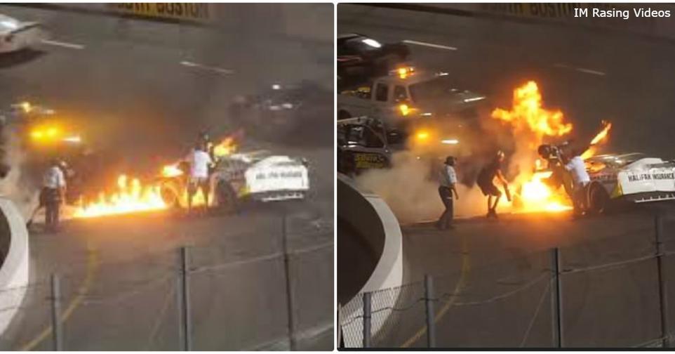 Его машина загорелась на трассе. Вот что сделал отец, который сидел на трибунах... Видео.