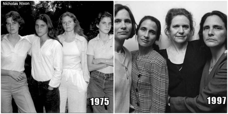 Это 4 сестры. Вот уже 40 лет подряд они делают по 1 фото в год... Очень крутая идея для фото.