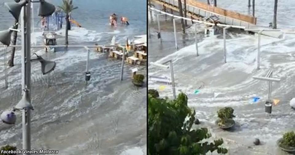 На роскошные курорты Испании обрушилось цунами! Кадры с Мальорки   это нечто... Есть путевка? Сдавайте!