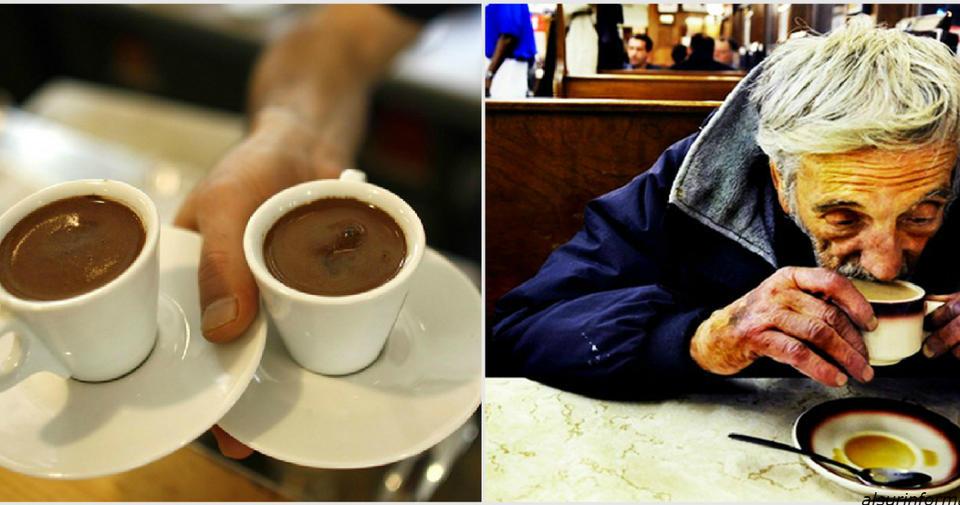 Бомжеватый на вид мужчина зашел в кафе и попросил «подвешенный» кофе... Вот что это значит.