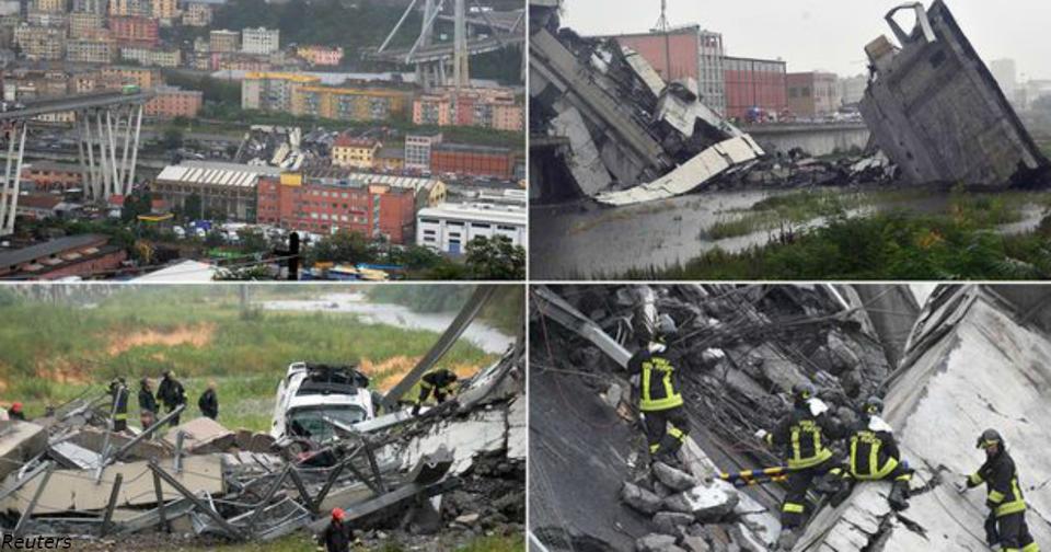 В Италии обрушился мост: Пока известно о 22 погибших 20 автомобилей находятся под обломками.