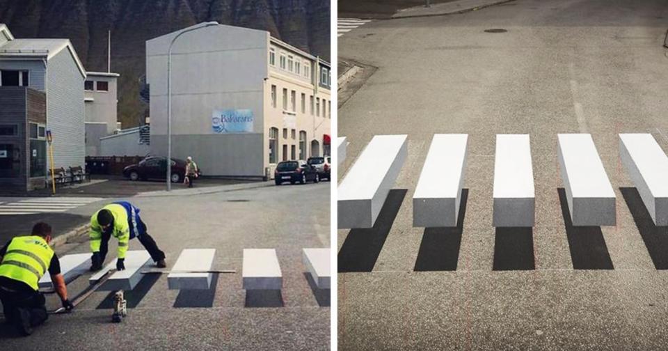 Чтобы пешеходов всегда пропускали на дороге, придумали вот такую ″зебру″ Как вам?