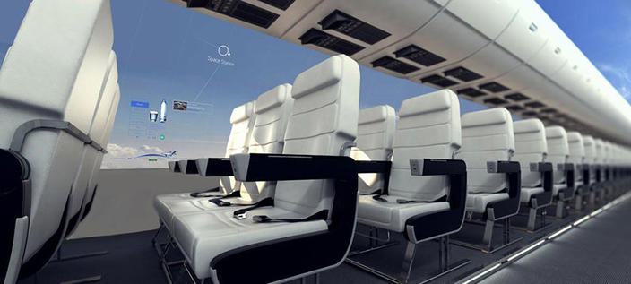 Самолеты без окон дадут пассажирам панорамный вид на небо и космос Полеты перестанут быть скучными.