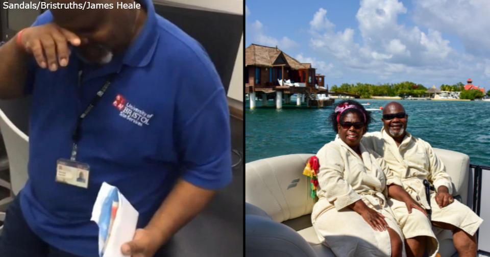 Студенты собрали деньги своему уборщику, чтобы он мог съездить на курорт Вы только взгляните на его рекция