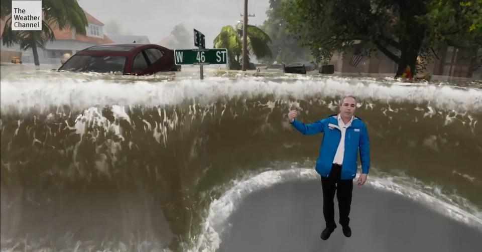 Мощь урагана Флоренс показали по ТВ. Выглядит просто невероятно... Действительно ужасает!
