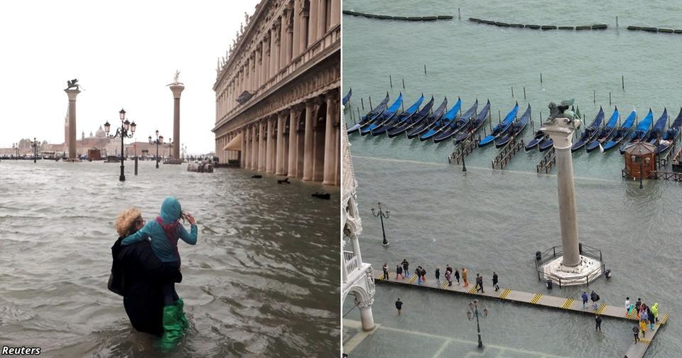 Из за наводнения 70% Венеции оказалось под водой! Вот жуткие фото Город на воде ушёл под воду.