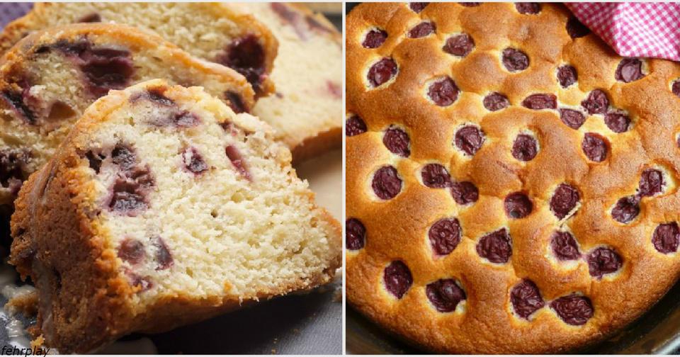 Если остался стакан кефира, можно приготовить вишневый пирог Рецепт на скорую руку.