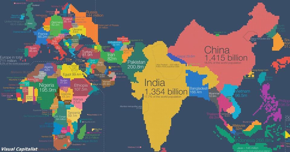 Эта карта изменит ваше восприятие мира. Вы только задумайтесь... Непривычно, зато наглядно.