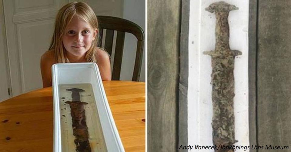 8 летняя девочка нашла в озере меч, которому 1500 лет Ничего себе находка!