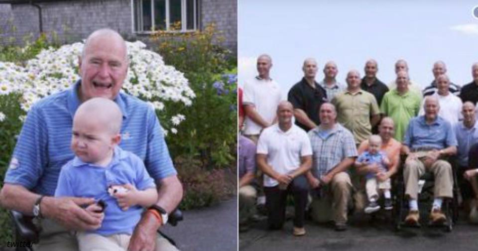 Джордж Буш старший однажды побрил голову, чтобы поддержать сына своего агента Вашингтон попрощался с 41 президентом США.