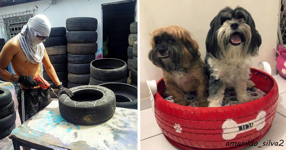 Бразильский художник делает из старых шин кровати для собак. Магия!