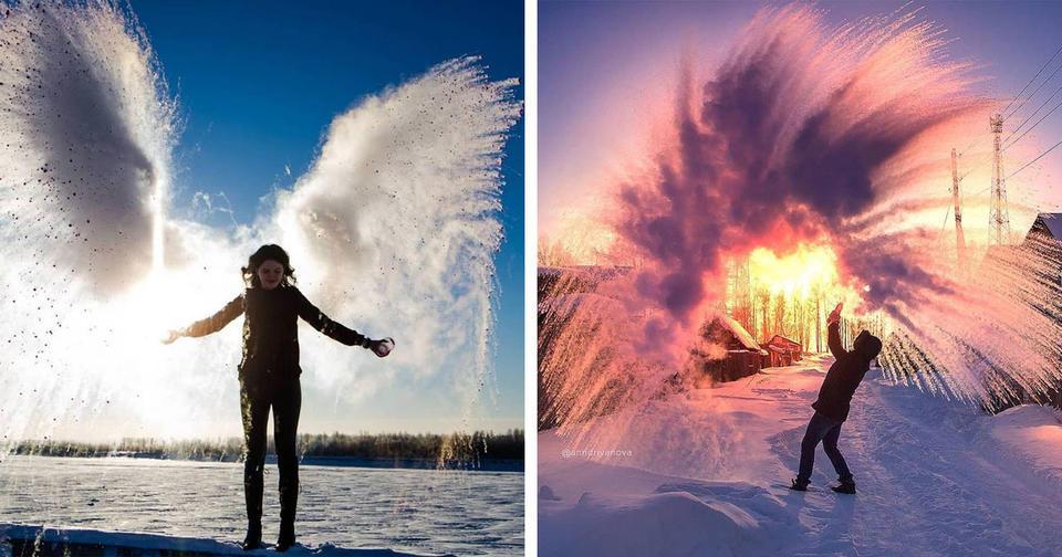 #Дубакчеллендж: до России дошёл флэшмоб с замёрзшей в воздухе горячей водой