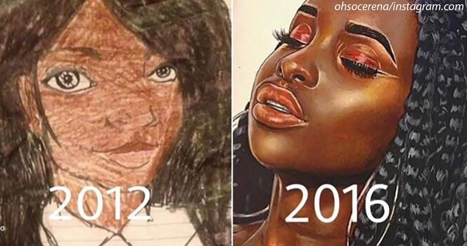 16 летняя самоучка сравнивает свои работы сейчас и 4 года назад. Талант   это практика!