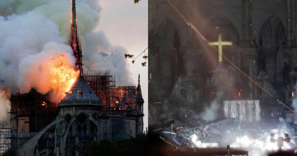 Чудо: Алтарь и крест Нотр Дама остались нетронутыми после пожара