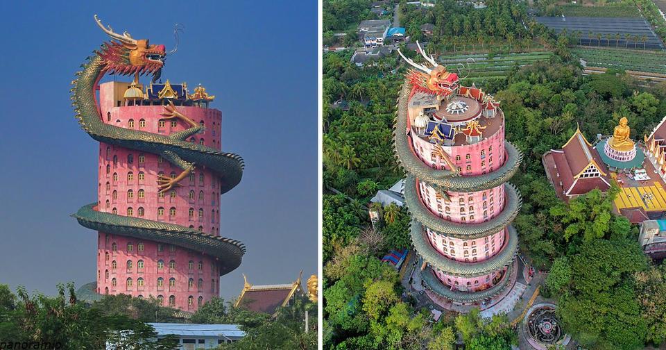 Этот дракон, обвивающий 17 ти этажный буддийский храм, имеет свою историю