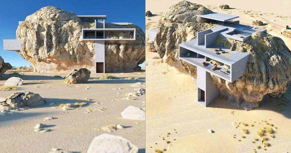 Архитектор сделал современный дом внутри гигантской древней скалы