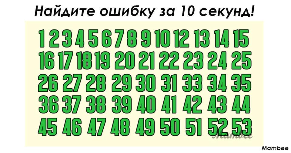 Похоже на обычную последовательность чисел, но это не так! Сможете найти ошибку?