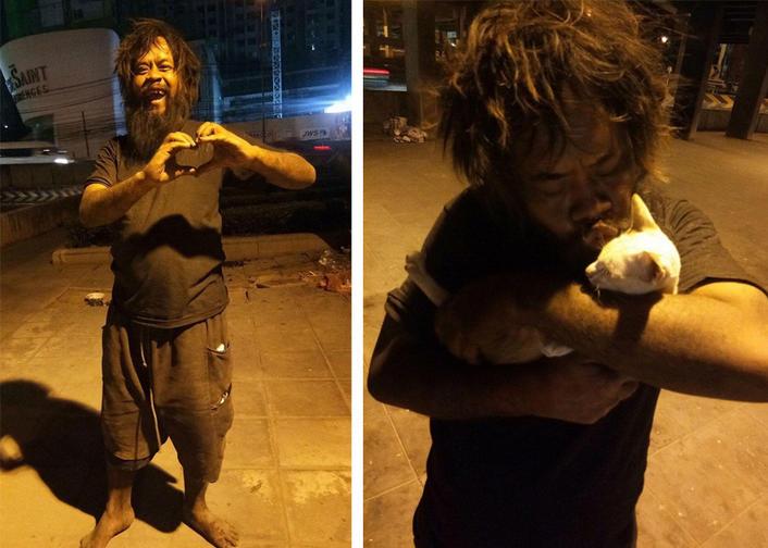 Бездомный каждый день покупал еду кошкам - и вдохновил весь мир