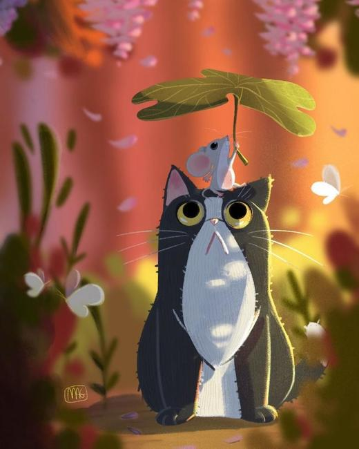 Итальянская художница показал удивительный мир кошек в ярких и добрых иллюстрациях