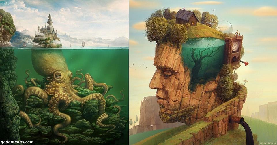 Художник создаёт сюрреалистическую вселенную, полную фантазии и красоты