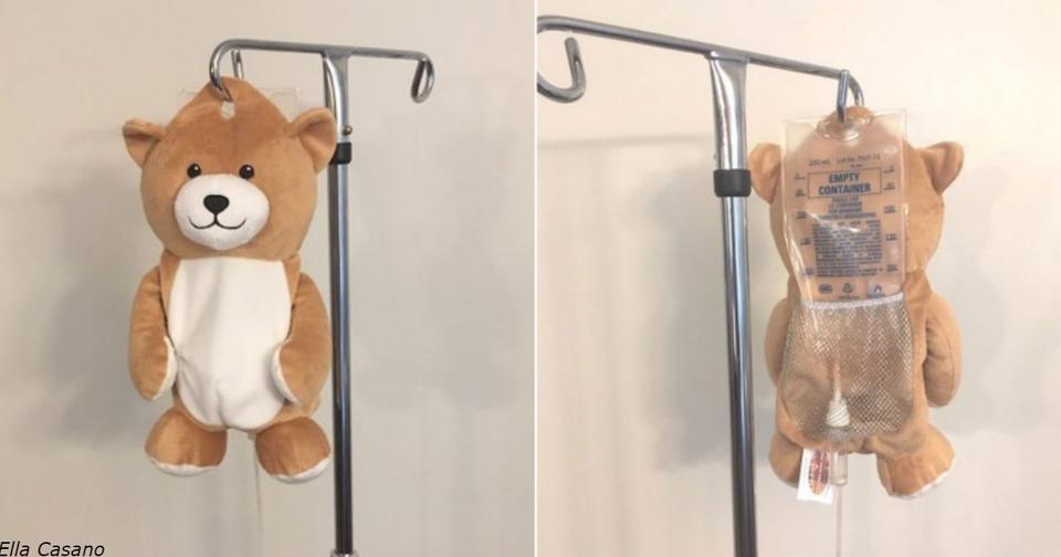 Девочка придумала вот такую вот игрушку, чтобы дети не боялись капельниц