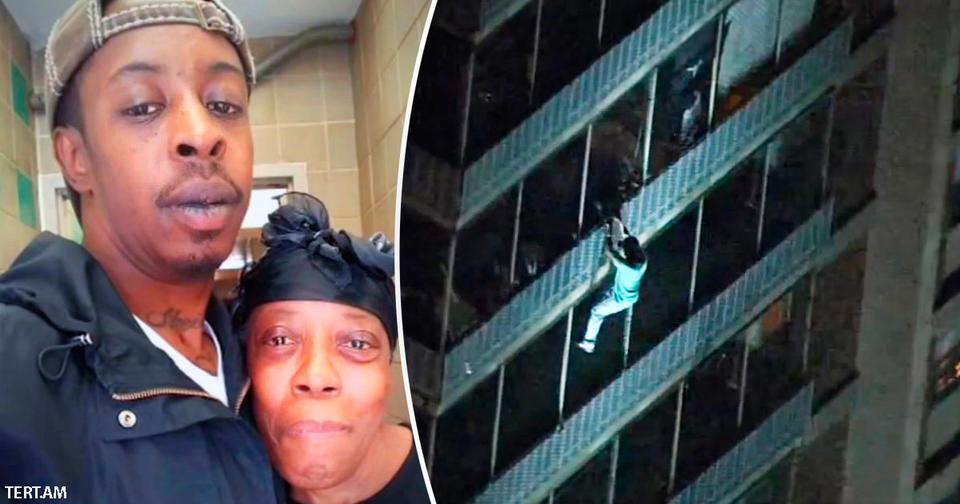 Парень залез по балконам на 15-й этаж, чтобы спасти свою мать