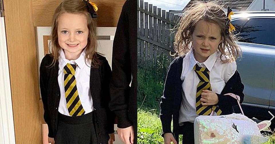 5 летняя девочка сходила первый день в школу. Вот уморительные фото