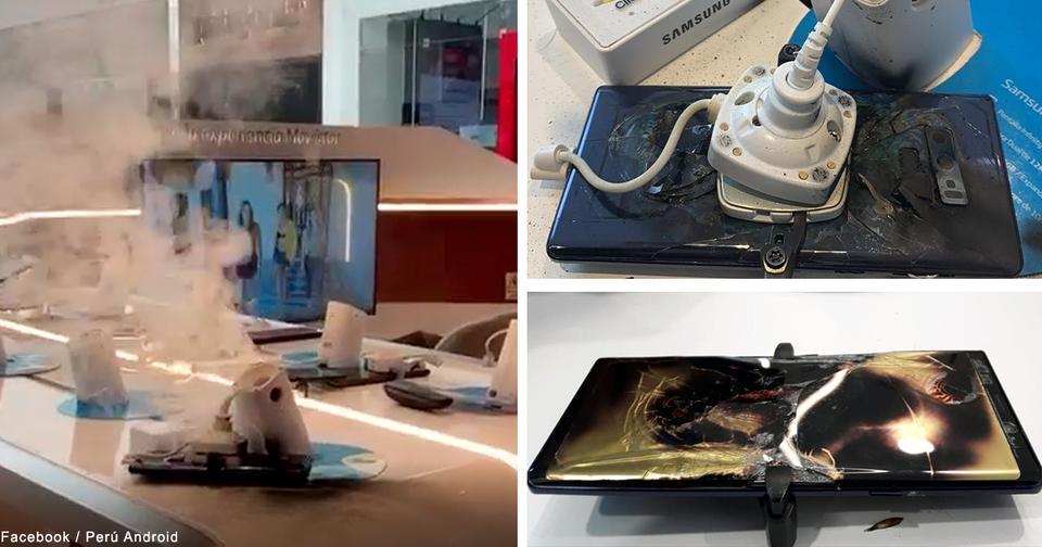 Смотрите, как новенький Samsung Galaxy Note 9 загорелся прямо в магазине