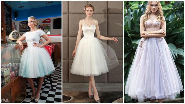 Винтажное свадебное платье чайной длины. Почувствуйте себя Одри Хепберн