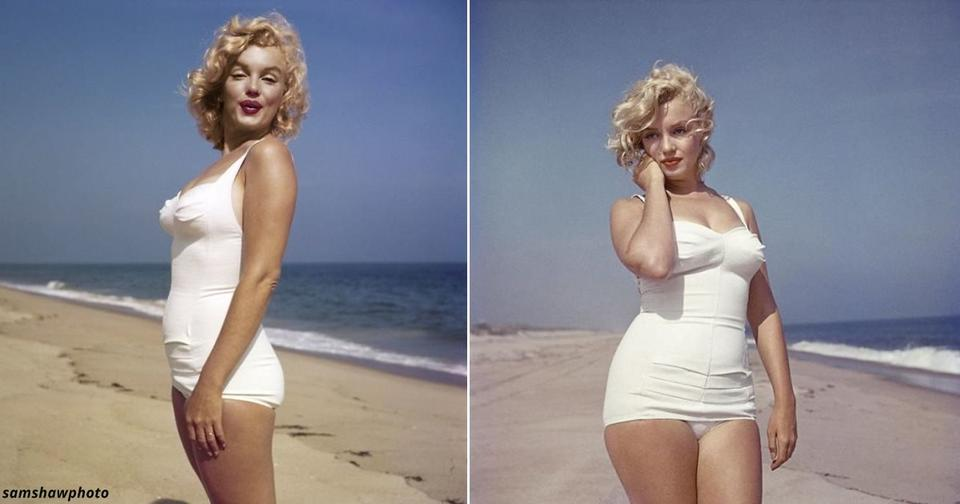 17 фотографий прекрасной Мэрилин Монро на пляже в Нью Йорке в 1957 году
