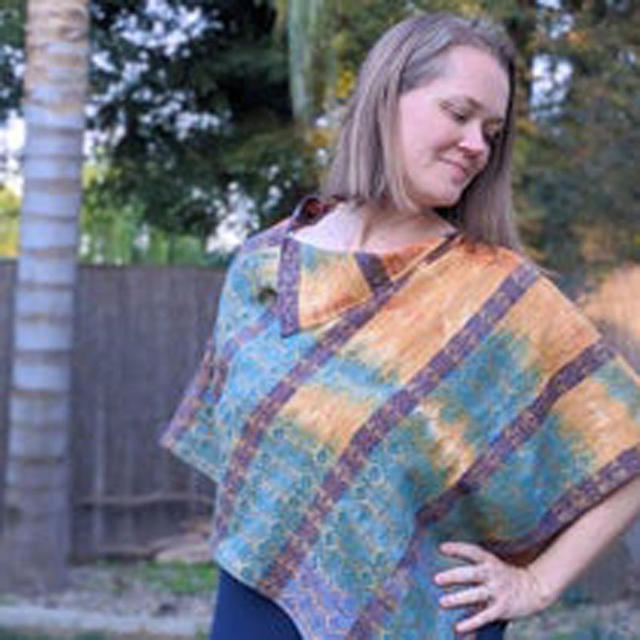 Как сделать пончо за 20 минут из широкого шарфа или ткани: пошаговое фото с инструкцией