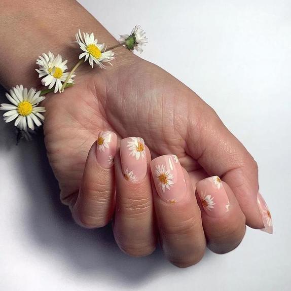 Белое и желтое   свежее сочетание для лета: дизайнеры рекомендуют маникюр с ромашками