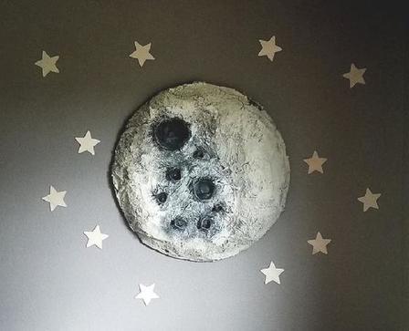Спальню моей дочери украшает большая луна: сделала ее своими руками из папье маше