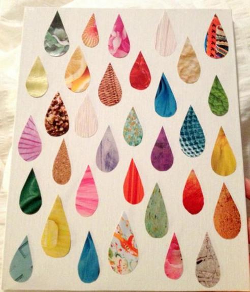 Из старых журналов я сделала милую картину в виде ярких разноцветных капель: делюсь простым способом