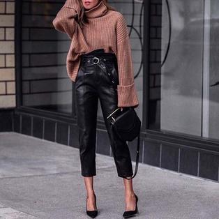 Как носить кожаные брюки этой осенью, чтобы выглядеть дорого: вдохновляемся стильными образами