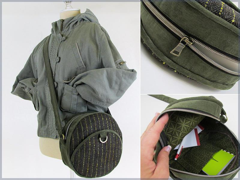 Из шерстяной ткани и вельвета сшила на осень красивую круглую сумку. Она очень удобная и прекрасно подходит для образов на каждый день
