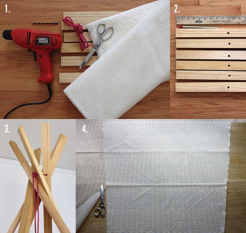 Кружевной вигвам для чтения или игр: мастерим для детей уютное гнездышко, используя при этом кружевную ткань и доски
