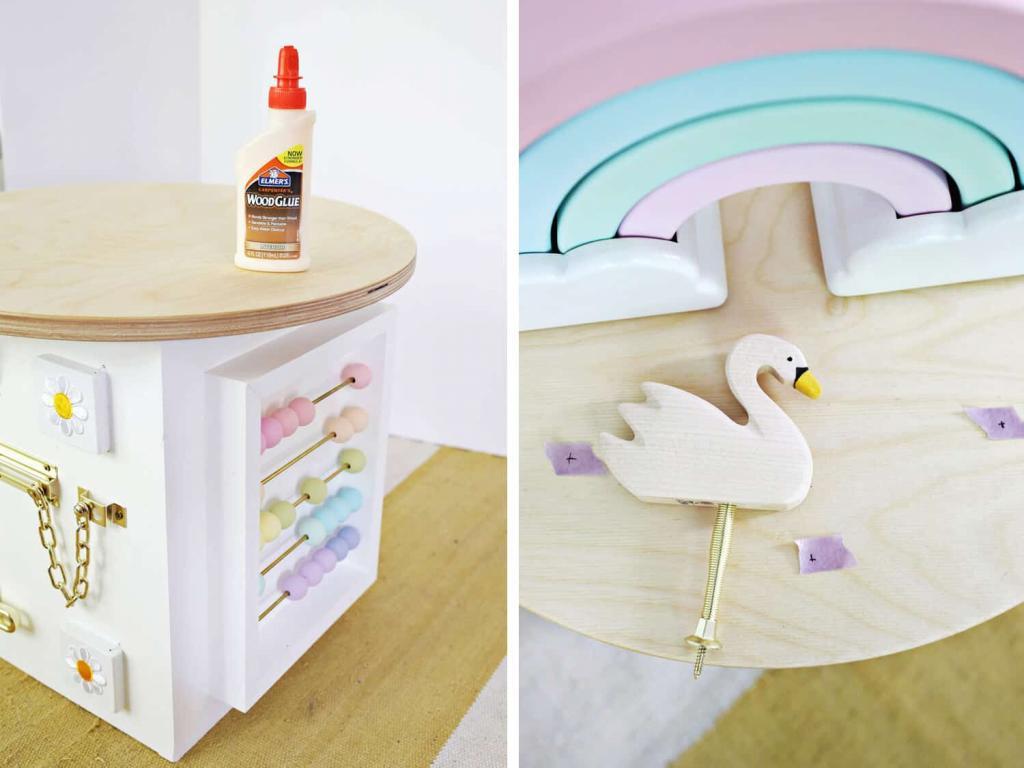 Развивающая игрушка с очень нежным и стильным дизайном: мастерим для малыша деревянный кубик со счетами, буквами и другими