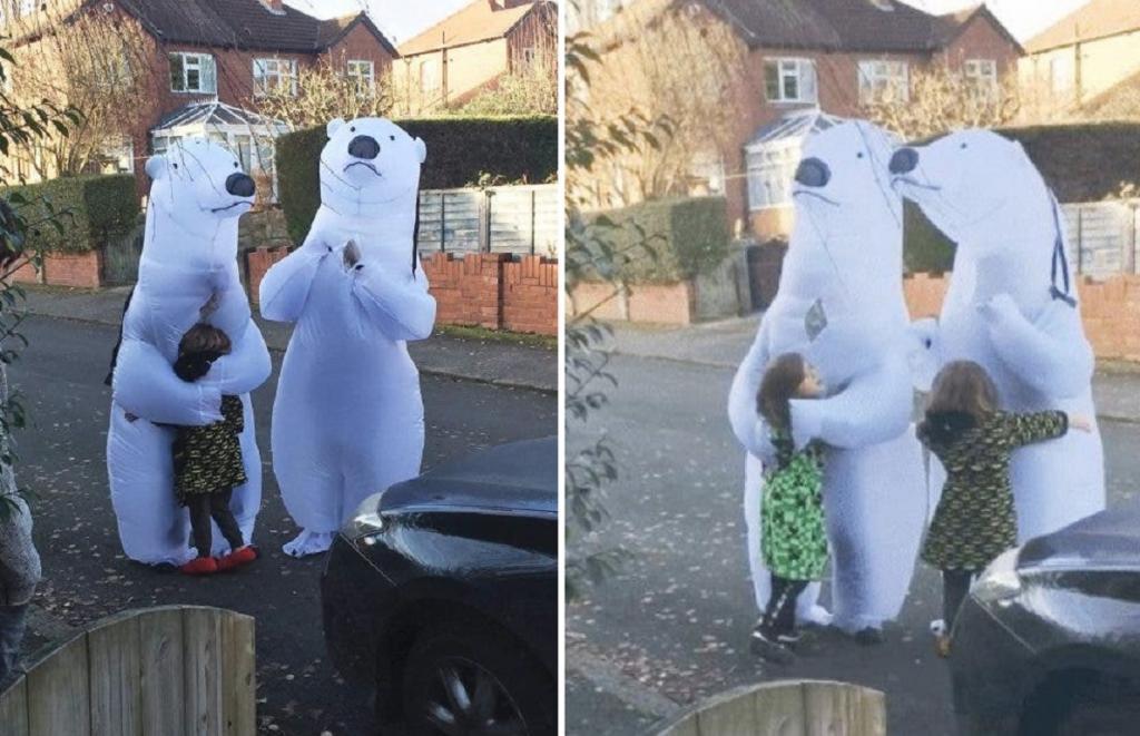 Чтобы повидать внуков, бабушка с дедушкой переоделись в костюмы белых медведей