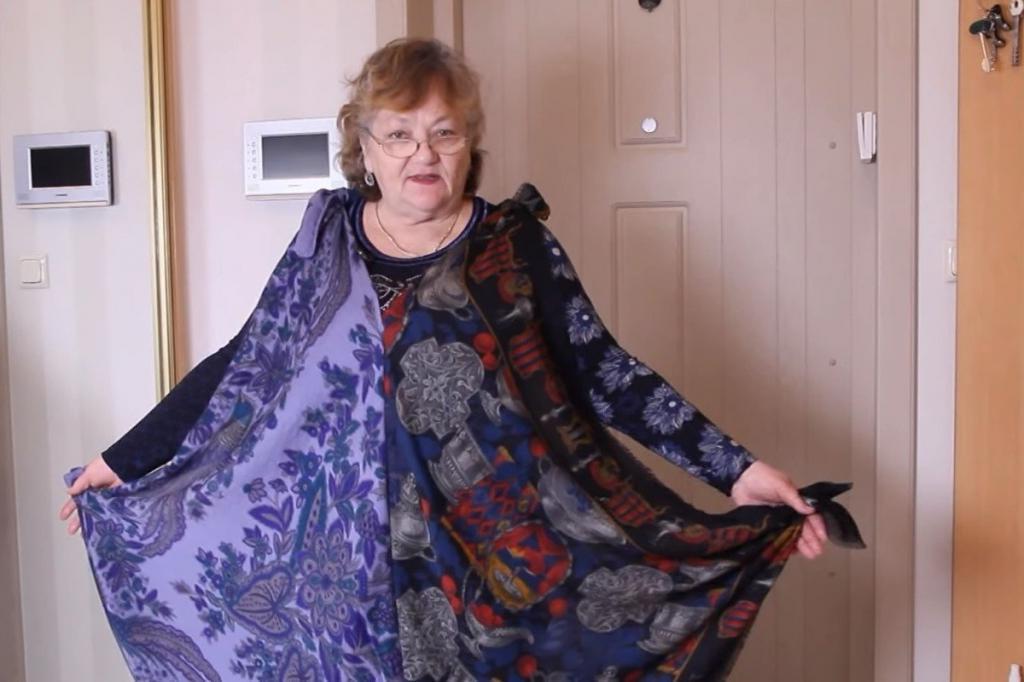 Пенсионерка показала, как из старых платков делает себе нарядные платья: просто и красиво (фото)