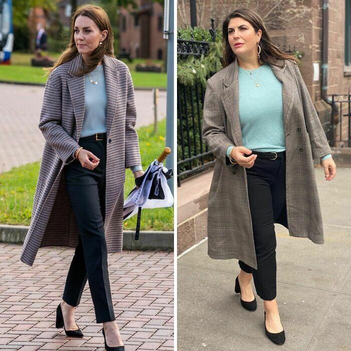 Женщина примеряет образы стройных знаменитостей, показывая, что не обязательно быть худой, чтобы одеваться, как звезда